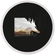Mt. Rainier In Lace Round Beach Towel by Sadie Reneau