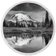 Mt Rainier In Reflection Round Beach Towel