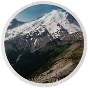 Mt. Rainier Panoramic Round Beach Towel