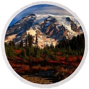 Mt. Rainier Paradise Morning Round Beach Towel