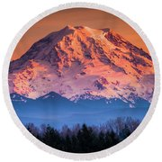 Mt. Rainier Sunset Round Beach Towel