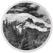 Round Beach Towel featuring the photograph Mt Rainier View - Bw by Stephen Stookey