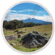 Round Beach Towel featuring the photograph Mt Ruapehu View by Gary Eason