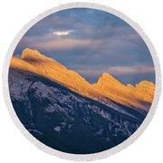 Mt Rundle Sunset Banff Round Beach Towel
