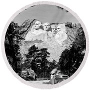 Mt Rushmore Round Beach Towel by American School