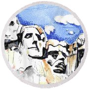 Round Beach Towel featuring the painting Mt. Rushmore, Usa by Terry Banderas