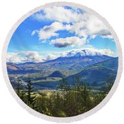 M.t St. Helens And The Toutle River Round Beach Towel