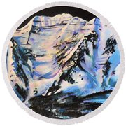 Mt. Timpanogos Under A Full Moon Round Beach Towel