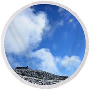 Round Beach Towel featuring the photograph Mt Washington Observatory by Alana Ranney