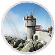 Round Beach Towel featuring the photograph Mt Washington Weather Station by Alana Ranney
