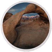 Round Beach Towel featuring the photograph Mt. Whitney Through Mobius Arch by Tim Bryan