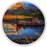 Mt. Wilbur And Swiftcurrent Lake Morning Round Beach Towel by Craig J Satterlee