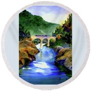 Mtn Quarries Rr Bridge Round Beach Towel