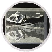 Mt.shuksan In Gray Round Beach Towel
