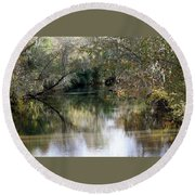 Round Beach Towel featuring the photograph Muckalee Creek by Jerry Battle