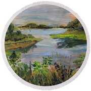 Round Beach Towel featuring the painting Mud Cove by Michael Helfen
