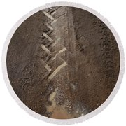 Round Beach Towel featuring the photograph Mud Escape by Stephen Mitchell