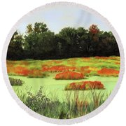 Mud Lake Marsh Round Beach Towel