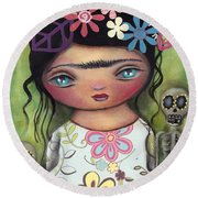 Muertos Fest Round Beach Towel by Abril Andrade Griffith