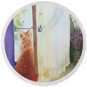 Muffin At Window Round Beach Towel