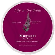 Mugwort - White Text Round Beach Towel