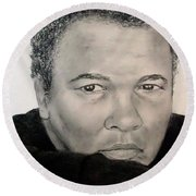 Round Beach Towel featuring the drawing Muhammad Ali Formerly Known As Cassius Clay by Jim Fitzpatrick