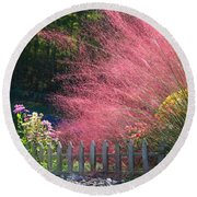 Round Beach Towel featuring the photograph Muhly Grass by Kathryn Meyer