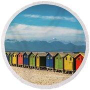 Muizenberg Beach Huts 1 Round Beach Towel