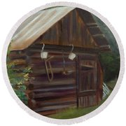 Round Beach Towel featuring the painting Mulberry Farms Grainery by Donna Tuten