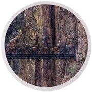 Mule Train On Black Bridge, Grand Canyon Round Beach Towel
