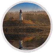 Round Beach Towel featuring the photograph Mulholland Point Lighthouse by Rick Berk