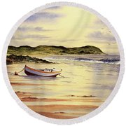 Round Beach Towel featuring the painting Mull Of Kintyre Scotland by Bill Holkham