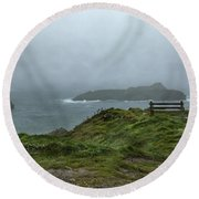 Round Beach Towel featuring the photograph Mullion Cove by Brian Roscorla
