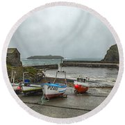 Round Beach Towel featuring the photograph Mullion Cove Harbour by Brian Roscorla