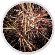 Round Beach Towel featuring the photograph Multi Blast Fireworks #0721 by Barbara Tristan