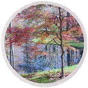 Multi Color Japanese Maple Round Beach Towel