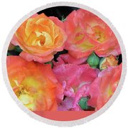 Round Beach Towel featuring the photograph Multi-color Roses by Jerry Battle