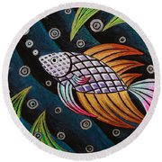 Multi-colored Fighting Fish Round Beach Towel