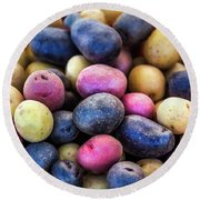 Multi-colored Potatoes Round Beach Towel