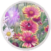 Multi Coloured Flowers With Bee Round Beach Towel