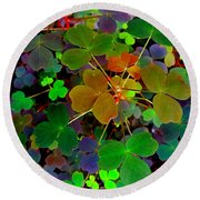 Multi-coloured Leaves Round Beach Towel
