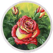 Multi Coloured Rose Sketch Round Beach Towel