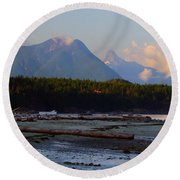 Multileval Photography In One Land Water Trees Mountain Clouds Skyview Olympic National Park America Round Beach Towel
