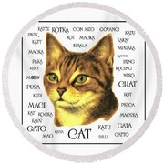 Multilingual Cat Round Beach Towel