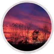 Multiple Colors Sunset Round Beach Towel by Yumi Johnson