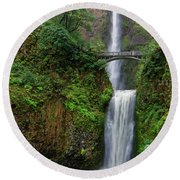 Round Beach Towel featuring the photograph Multnoma Falls by Jonathan Davison