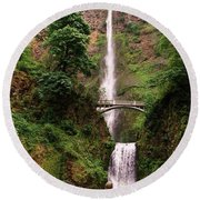 Multnomah Falls, Columbia River Gorge, Or Round Beach Towel