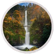 Multnomah Falls In Autumn Colors -panorama Round Beach Towel