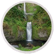 Multnomah Falls In Spring Round Beach Towel by Greg Nyquist