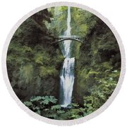 Round Beach Towel featuring the photograph Multnomah Falls Painterly by Diane Schuster